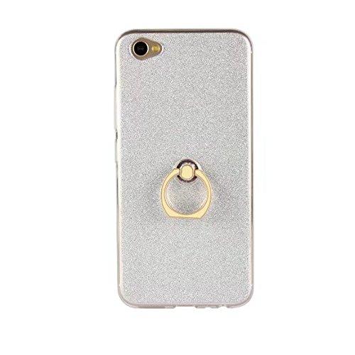 Soft Flexible TPU Back Cover Case Shockproof Schutzhülle mit Bling Glitter Sparkles und Kickstand für VIVO X9s ( Color : White ) White