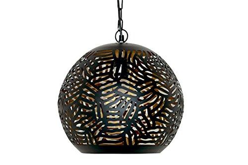 Emporio Arts lzc-648 m-bg Panier Zebra gravure Lampe à suspension abat-jour, fer, noir à l'intérieur or, E27, 40 Watts