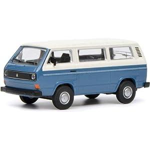 Schuco 452017200 452017200-VW T3 Bus - Maqueta de Coche (Escala 1:64), Color Blanco y Azul