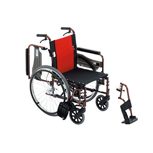 HEUFHU888 Sedia a rotelle Leggera Pieghevole in Lega di Alluminio a Mano Pieghevole (Colore : Red)