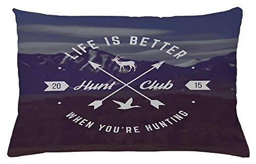 ZTLKFL Hunting Throw Pillow Cushion Cover, Grunge Retro Hunt Club Emblem with Arrows Motivating Quote Mountains Backdrop, Decorative Accent Pillow Case, 18 X 18 Inches, Brown Blue White Hunt Coat