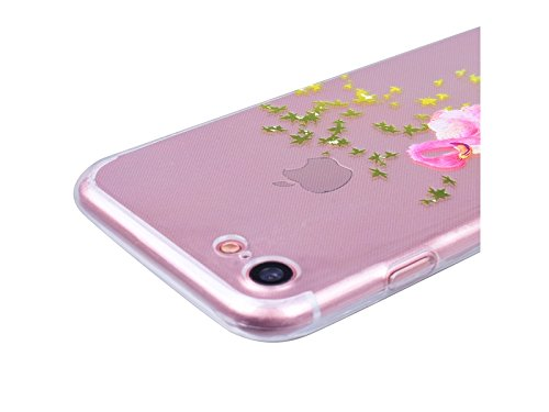 GrandEver Coque iPhone 7 Plus Silicone Gel TPU Transparente Souple Housse Protecteur avec Absorption Case avec Bumper Anti-Scratch Cover Etui pour iPhone 7 Plus (Chat Motif ) Flamingos