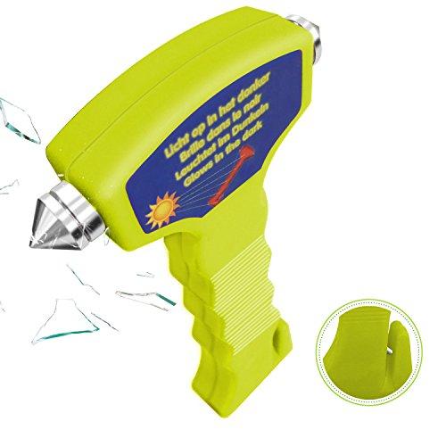 Auto Hammer, HiKeep Notfallhammer Sicherheitshammer mit Gurtschneider, Gurtmesser, Nachtlichtfunktion für Auto, Bus (Grün)