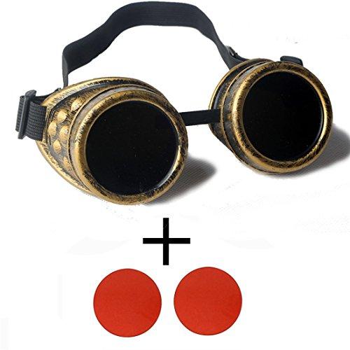 AFUT Steampunk Schutzbrille Viktorianisch Schweißen Gelbes Rahmen Rote Linse