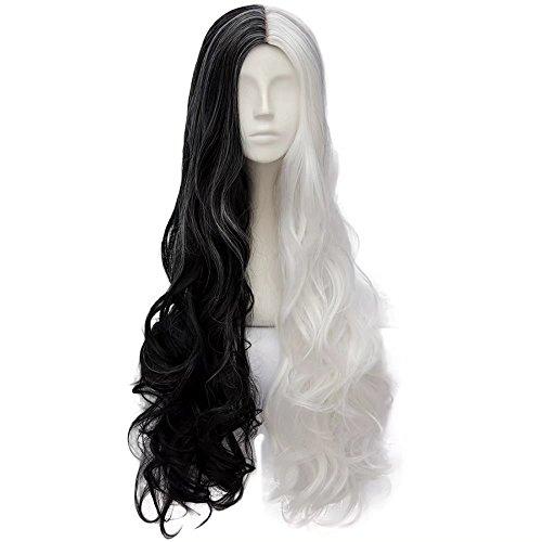 (Estyle Fashion 32 Inches(80CM) Lang Lockig Lolita Party Dame Cosplay Hair Full Wig Perücke (Schwarz + Weiß))