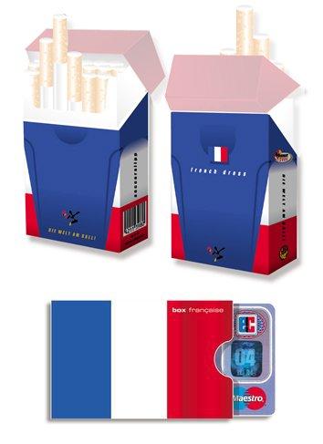 EM-SET Motiv: FRANKREICH FAHNE / FLAGGE - 1x cardbox (Kartenhülle, Ausweishülle, Führerscheinhülle) UND 1x indo slipp (Hülle für Zigarettenschachteln) im SET