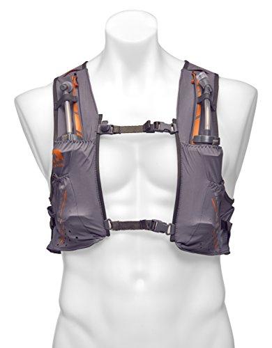 Nathan vaporkrar Hydration Pack Running Vest, inkl. Zwei 12oz Fläschchen mit verlängerter Trinkhalme, kompatibel mit 1.8L Reservoir Blase, Herren Größe L stahlgrau -