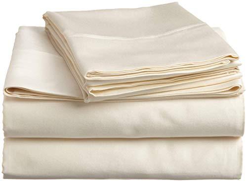 Algodón egipcio de lujo ultra suave sedoso Juego de 4 piezas que incluye 1 sábana bajera ajustable (40 cm) holgada, 1 sábana superior, 2 fundas de almohada...
