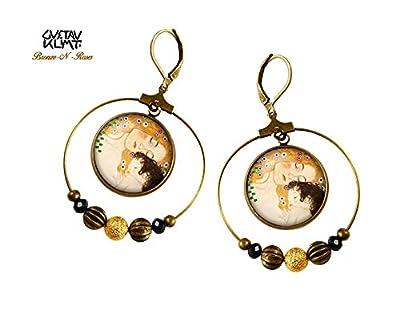 boucles d'oreille créoles La mère et l'enfant bijou rétro Gustav Klimt collier cadeau fête des mères
