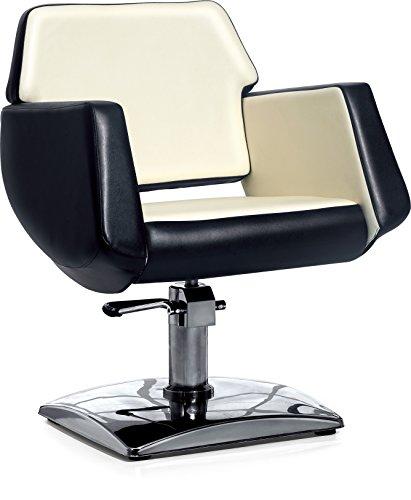 Polironeshop libra sedia poltrona per parrucchiere barbiere da taglio salone hair stylist acconciature trucco truccatore estetista estetica make-uk parrucchieri (panna/nero)