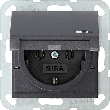 Preisvergleich Produktbild Gira 045428 Steckdose m.Klappdeckel anth System55