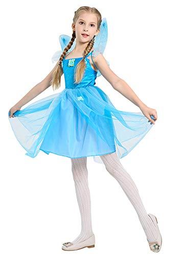 Cloud Kids Mädchen Feen Prinzessin Kleider mit Flügel Halloween Cosplay Blumenfeen Ballkostüm Verkleidung Blau Körpergröße 130-140cm