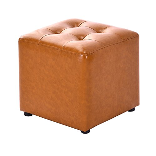 Tabouret Tabouret en cuir PU avec repose-pieds carré en bois 4 pattes Repose-pieds rembourré avec coussin de siège Changement tabouret Tabouret de maquillage Dressing disponible en jaune pour le couloir | Salon Heavy Duty Max, 150KG 36x36x33cm