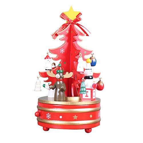 TOYMYTOY Weihnachts-Spieluhr, hölzerne Uhrwerk Design Weihnachtsbaum Spieluhr für Party Geburtstag Dekor