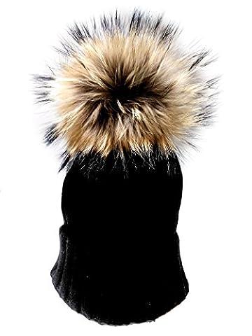 ISABEL CARRERO Luxury Designer Label Real Wool Pom Pom Hats Detachable Faux Fur Pom Pom