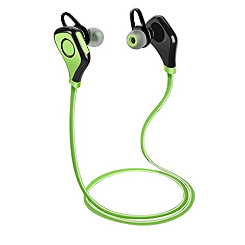 Bluetooth Headphones Tenswall Wireless Sports Stereo Headsets w/ Microphone Noise Cancelling Running Gym Exercise Sweatproof Earphones Earbuds for iPhone 6 6 Plus Android Phone and other Enabled Bluetooth Devices Green