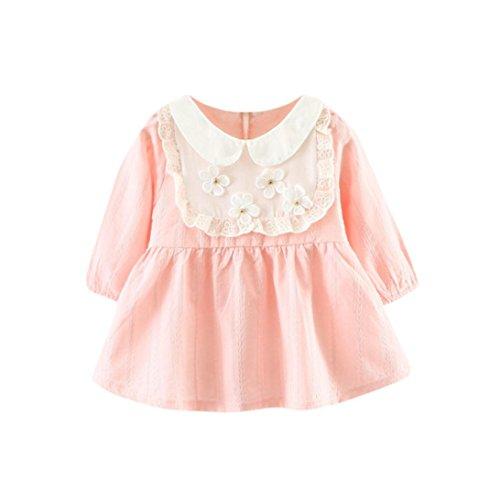 ZIYOU Baumwolle Sweet Baby Blumen kleider für Festzug Partei Festliches Kleid (12M, (Kostüme 1950 Niedlich)