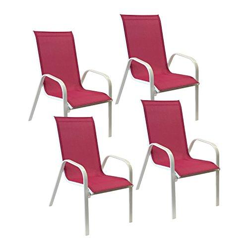 Lot-de-4-chaises-MARBELLA-en-textilne-rose-aluminium-blanc
