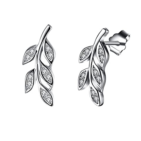 ZPXLGW Creative Tree Leaves S925 Boucles D'oreilles En Argent Sterling,Silver-L
