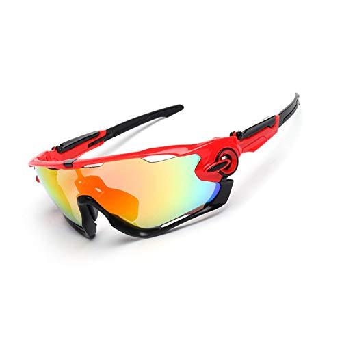 AmDxD PC Radsportbrille Polarisierte Sonnenbrille Brillenträger Schutzbrillen Fahrradbrille 3 Linsen für Motorrad Fahrrad Helmkompatible, Rot Schwarz