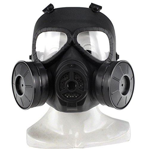 MAJOZ Taktische Gasmaske mit Filter,Airsoft Maske Gasmaske für Cosplay Schutz Zombie Soldaten Halloween Masqürade Resident Evil Antivirus Schädel CS Maske (Schwarz)