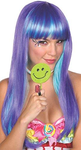 Candy Babe Wig purple hellblau Langhaarperücke Damen Accessoire Karneval Hexe