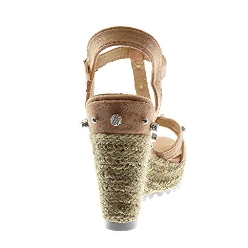 Angkorly Scarpe Moda Sandali Mules con Cinturino Alla Caviglia Cinturino Zeppe Donna Borchiati Multi-Briglia Corda Tacco Zeppa Piattaforma 11.5 cm Rosa chiaro