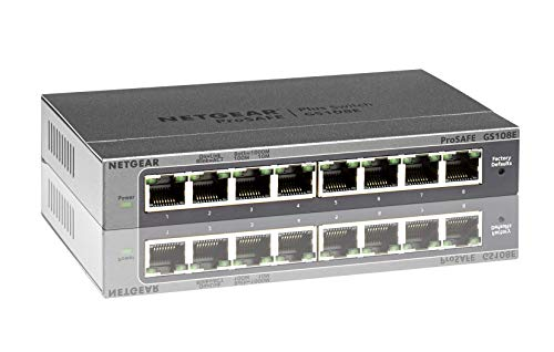 Netgear GS108E-300PES 8-Port Smart Managed Plus Gigabit Switch (bis 2000 MBit/s, Plug-and-Play, konfigurierbar mit deutscher GUI, VLAN, QoS/DoS, IGMP-Snooping, lüfterlos, Metallgehäuse)