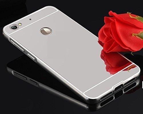 Sun Tigers For Red mi3s Prime - (SILVER ) Premium Luxury Metal Bumper Acrylic Mirror Back Cover Case