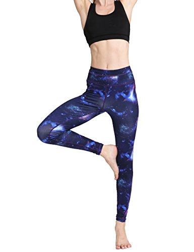 FLYILY Donna Allenamento Leggings Star Print Yoga Fitness Spandex Palestra Pantaloni BlueSky