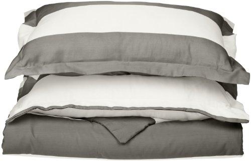 Impressions Superior - Weiches, knitterfestes Bettbezugsset mit Cabana-Streifen, 269 x 234 cm, Fadenzahl 600, Baumwollmischung, grau, 3-teilig. -