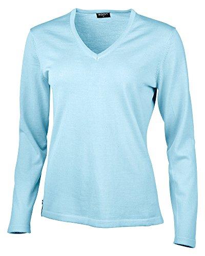 agon - Premium Damen Strick-Pullover, extrafein, 100% Merino-Wolle, V-Ausschnitt Türkis 40/L