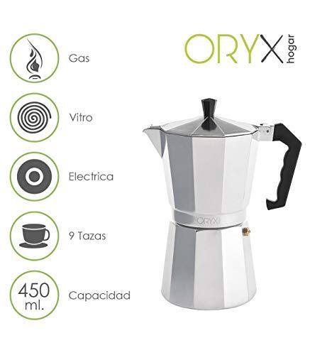 Oryx Cafetera Aluminio 9 Tazas, 450 ML