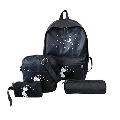 1e511a650 Toamen Mochila de Cuatro Piezas para Mujer Mochila de Gato Impresa Bolsa de  Estudiante de Viaje