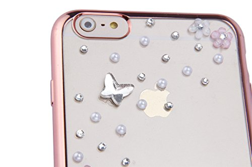 Coque Housse Etui pour iPhone 6 Plus/6S Plus, iPhone 6S Plus Coque en Silcone avec Bling Diamant d'or Etui, iPhone 6 Plus Placage Coque 3D Gel Souple Etui Housse, iPhone 6 Plus/6S Plus Silicone Golden Or Rose-Perle papillon