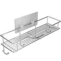 Bathroom Towel Shelf / Kitchen Holder, AISHN 304 Stainless Steel Vacuum Super Silicone Storage Rack, Space-Saving Rack Includes 4 Hooks