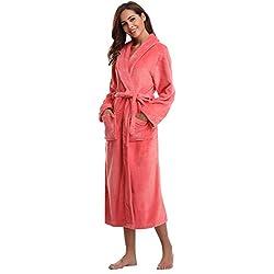 Aibrou Pyjama Femme Polaire Robe Chambre Homme Longue Hiver Sortie de Bain Peignoir Pas Cher personnalisé - Rouge - EU 36-38 (Fabricant : S)