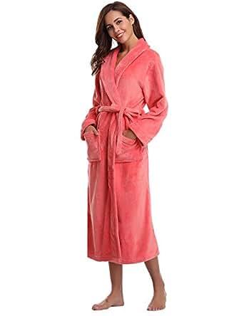 aibrou peignoir femme velours robe de chambre polaire chaud long flanelle peignoir de bain homme. Black Bedroom Furniture Sets. Home Design Ideas