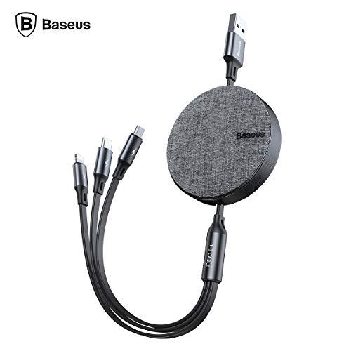 AICase 3 in 1 einziehbares Micro-USB/Typ-C-Phone-Daten-Sync-Ladekabel für iSO Android (Grauschwarz) (Spule Usb-blitz-kabel)