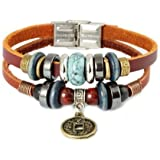 FASHION PLAZA Simulated Ancient Chinese Coin & Calaite Bead Leather Bracelet -19cm- L1