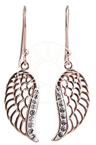 Sterling Silver/Rose Gold Plate Angel Wing Drop Earrings with Clear Swarovski Crystals