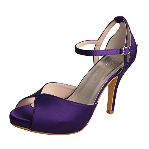 Wedopus Damen Peep Toe High Heels Plateau Schnallen Violett Satin Abend Party Prom Sandalen Size 39 -