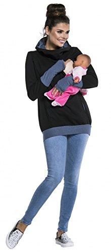 Zeta Ville - Sweat-shirt allaitement maternité détails contraste - femme - 330c Jeans & Noir