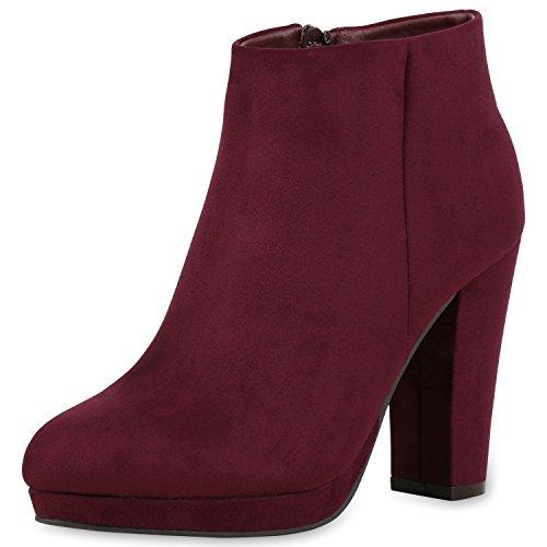 Japado , bottines classiques femme rouge foncé