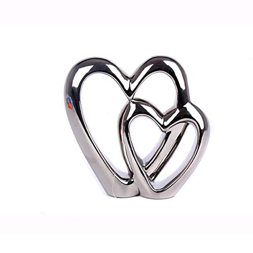 Double heart silver decorative figure
