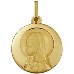VIERGE MARIE AURÉOLÉE - Médaille Religieuse - Or 18 carat - Hauteur: 15 mm - www.diamants-perles.com