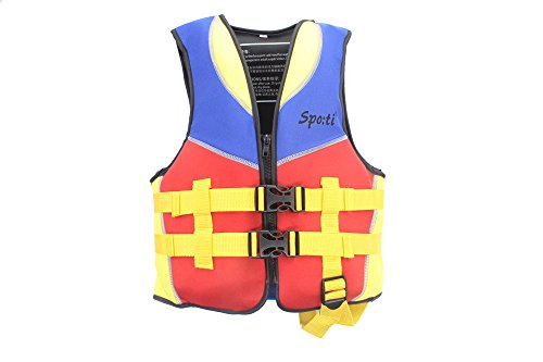 Genwiss Children Infant Life Vest Baby Floating Clothing Drifting Life Jacket Swimwear Red Medium for Four-six Years 33-50lbs