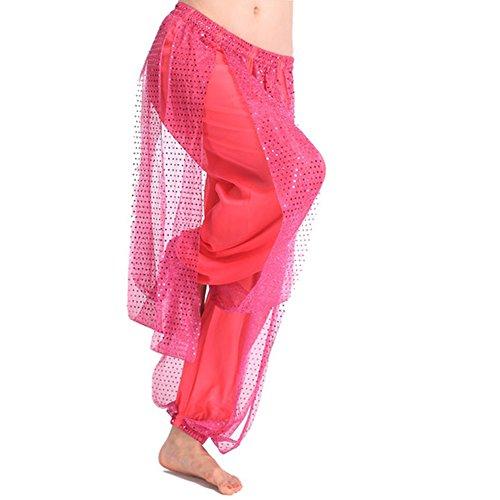 BOBORA Formazione di gonna di danza del ventre pantaloni Sport Pantaloni Jogging rosso 1