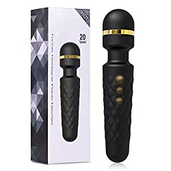 YUECHAO Handheld Massage Stick - Wireless Magic Wand Massager - Silicone Massage Device with 8 * 20 Vibration Modes - Waterproof & Rechargeable - Gift for Women - Black MULTIPLE-WAY