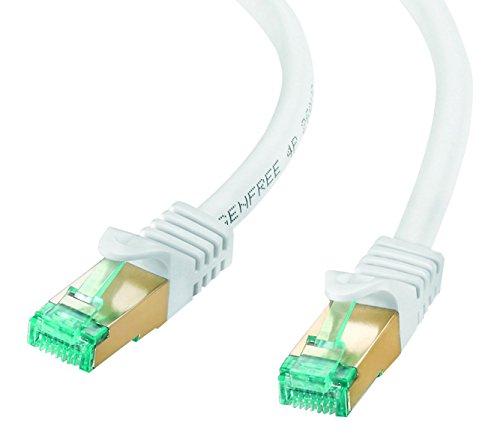 adaptare 67419 RJ45 Ethernet-Netzwerkkabel (S/FTP, PIMF, CU AWG26/7), mit Cat7 Rohkabel 3,00m weiß
